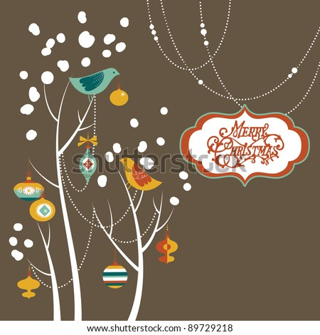 Retro Christmas card with two birds, white snowflakes, winter trees and baubles