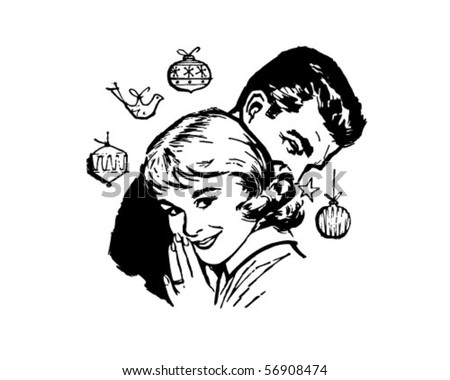 Retro Christmas Couple - Clip Art