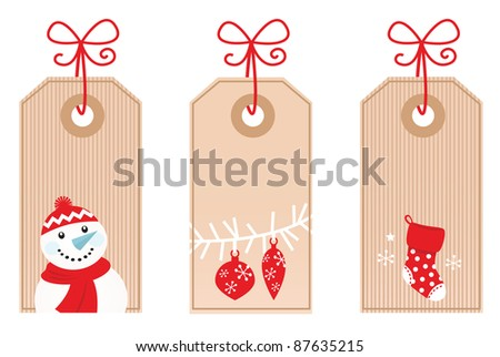 Retro Christmas Gift Tags isolated on white ( red )