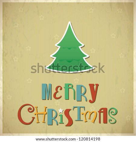 Retro Christmas greeting card. Vector illustration