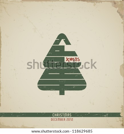 "Retro  Christmas Greeting Cards, Happy Xmas, text ""Happy"" in a form of Christmas tree. vector illustration."