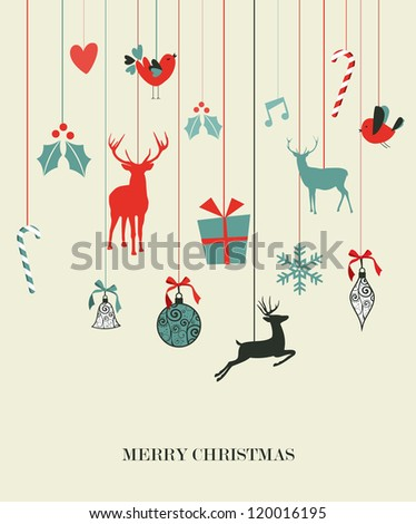 Retro Christmas hanging elements set. Vector illustration layered for easy manipulation and custom coloring.