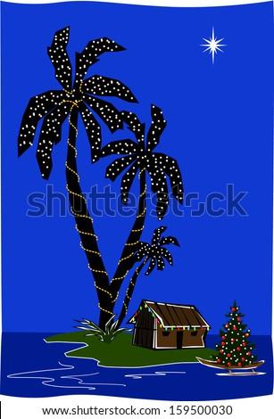 retro christmas island lagoon