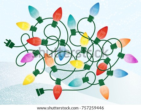 Retro Christmas Lights Tangle on Snowy Background