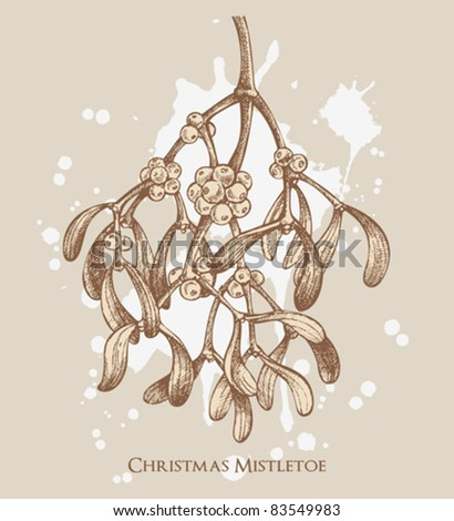retro christmas mistletoe card with paint stains