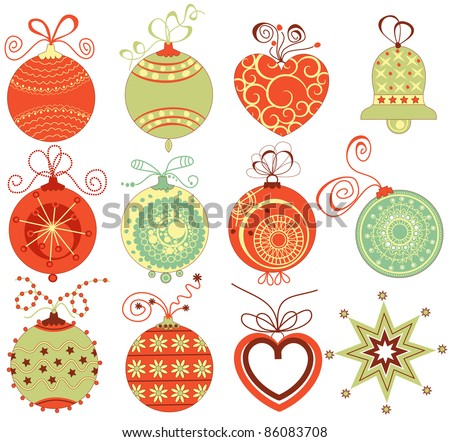 Stock Photo Retro Christmas ornaments set in traditional colors