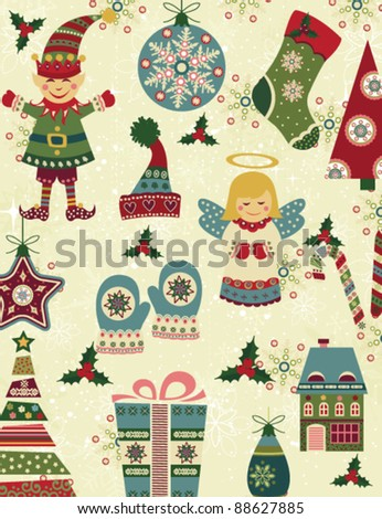 Retro Christmas pattern with christmas icons