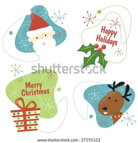 Retro Christmas Vector Set 1 Isolated