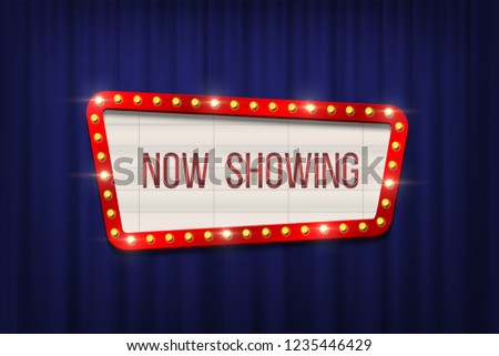 Retro cinema announcement board with bulb frame on blue curtains background. Vector design element #1235446429