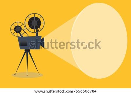 Retro cinema icon, vector illustration with copy space