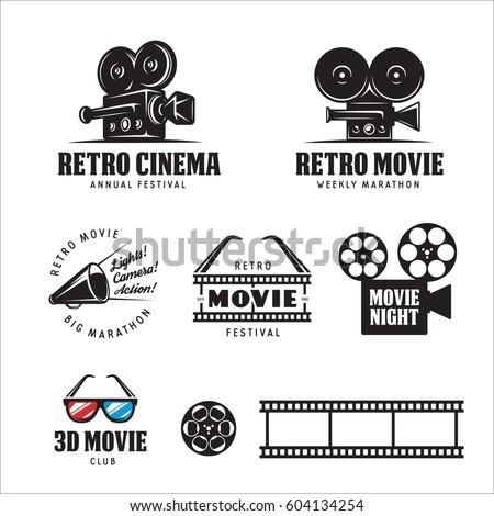 retro cinema labels badges