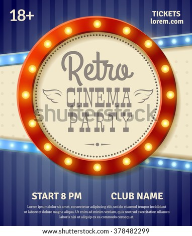 Retro cinema party poster with light banner realistic vector illustration