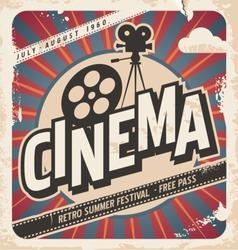 Retro cinema poster. Vector movie ad for summer festival. Vintage background illustration on old paper texture.