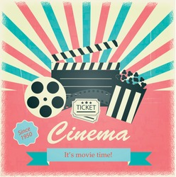 Retro cinema poster; vector. Vintage background illustration with filmstrip; popcorn and tickets