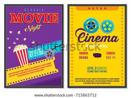 Retro Cinema Poster Vintage 70s 80s 90s Style Flat Elements Set Collection with Bright Background and Popcorn Ideal for Advertisement, Web, Flyer, Card