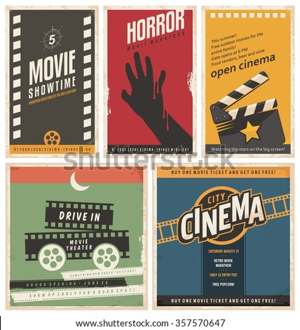 retro cinema posters and flyers