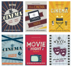 Retro Cinema Posters and Flyers. Colorful set of movie design elements with Film Projector, TV set,  cinema theater, director chair, popcorn, soda, reel and more.  Can be used for print, web. Vector.