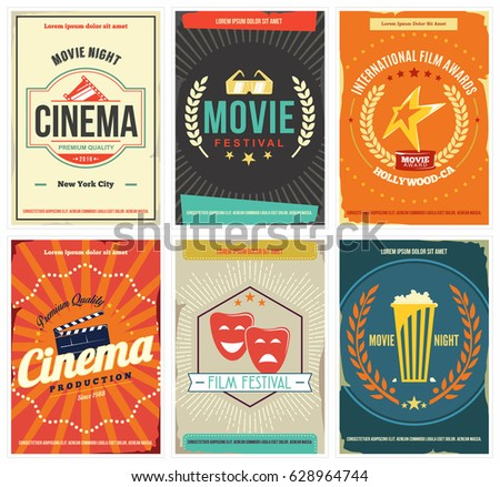 Retro Cinema Posters set. Collection of templates with movie flat design elements.  Can be used for media, ad, print, web. Isolated. Vector.