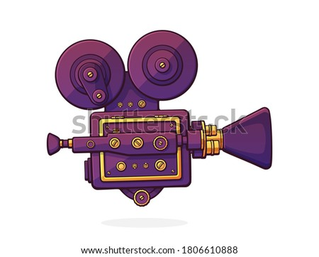 Retro cinema projector. Vintage film camera. Old fashioned movie camera. Symbol of the film industry. Cartoon vector illustration with outline. Clip art Isolated on white background