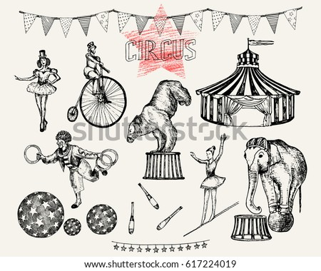 Retro circus performance set sketch stile vector illustration. Hand drawn imitation. Human and animals  sc 1 st  Vecteezy & Vintage Circus Illustration - Download Free Vector Art Stock ...
