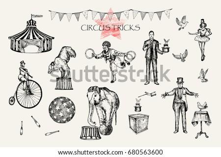 Retro circus performance set sketch stile vector illustration. Hand drawn imitation. Human and animals