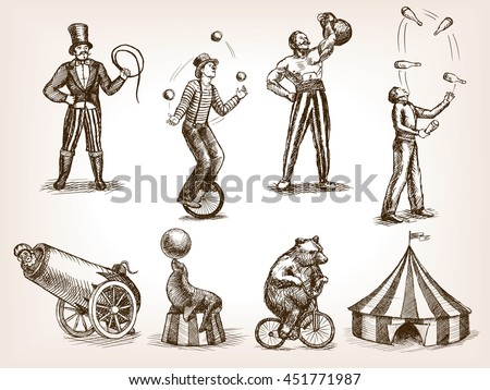 Retro circus performance set sketch style vector illustration. Old hand drawn engraving imitation. Human and animals vintage drawings