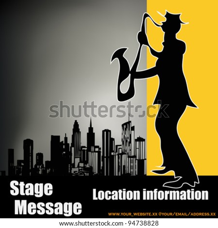Retro City Sax Player, vector background