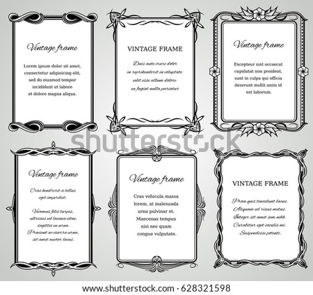 Retro classic borders and calligraphic old wedding photo frames vector collection #628321598