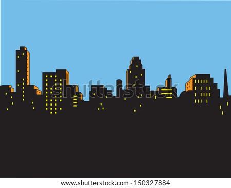 Retro Classic Comics Style City Skyline