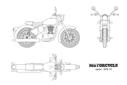 Retro classic motorcycle in outline style. Side, top and front view. Drawing of vintage motorbike on white background. Vector isolated illustration