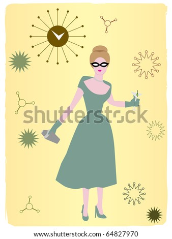 Retro clock abstract 50s woman standing and drinking vector illustration