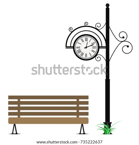 retro clock and wooden bench....