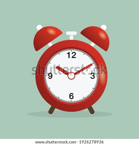 Retro clock design concept. Red alarm clock is ringing. Retro alarm clock. Illustration of Alarm clock pink wake-up time.