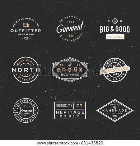 Retro clothing badges in minimal vintage style, apparel labels, logos for branding projects, posters, cards, flyers, other uses, t-shirt prints, other uses.