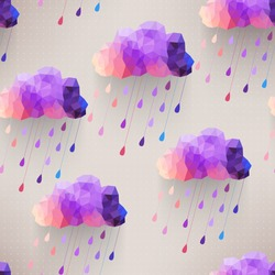 Retro cloud seamless pattern with rain symbol, hipster background made of triangles Retro background with rain drop pattern.Square composition with geometric shapes.Weather backdrop. Autumn template.