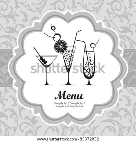 retro cocktail menu with glasses and place for your text. vector illustration