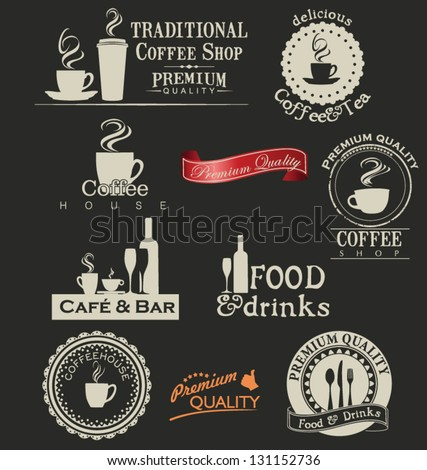 Retro coffee and restaurant labels