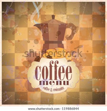 Retro coffee menu card design template. Eps10.