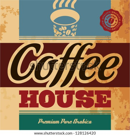 Retro Coffee Menu. Coffee House