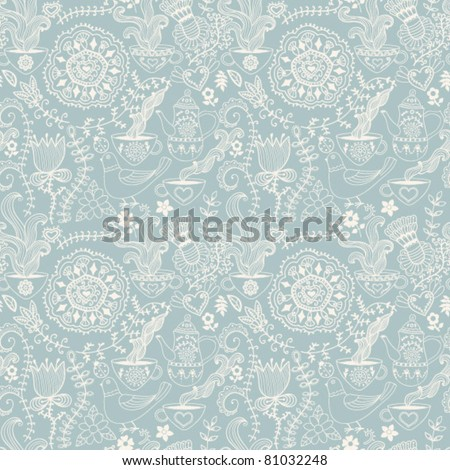 Retro coffee seamless pattern,  tea background
