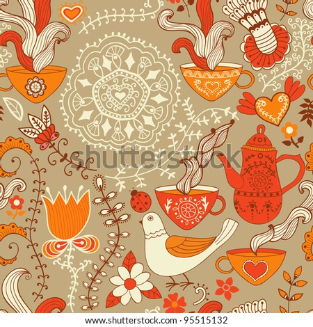 Retro coffee seamless pattern, tea background, texture with cups,drink and flowers.