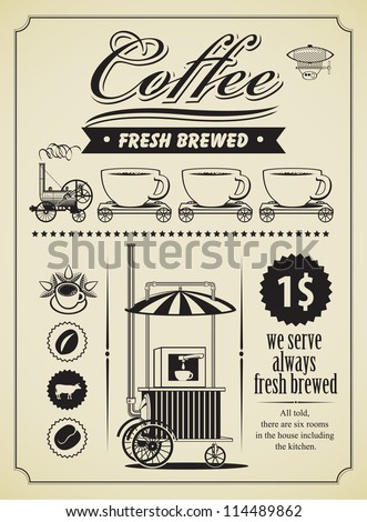retro coffee theme banner