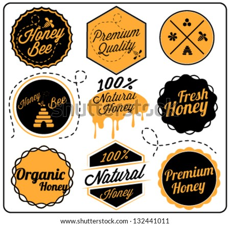 Retro Collection of Honey and Bee Labels