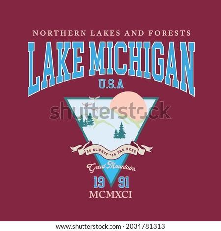 Retro college varsity font typography Lake Michigan state slogan vector print. Photo stock ©