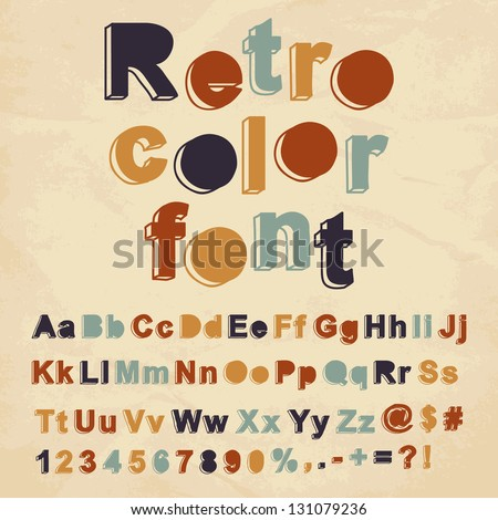 Retro color font. Vector illustration.
