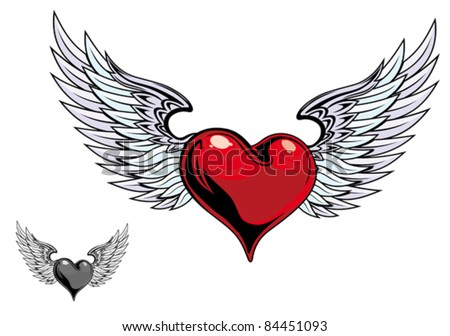 retro color heart with wings