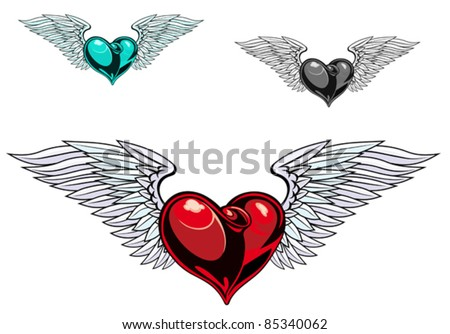Retro color heart with wings for tattoo design. Rasterized version also available in gallery