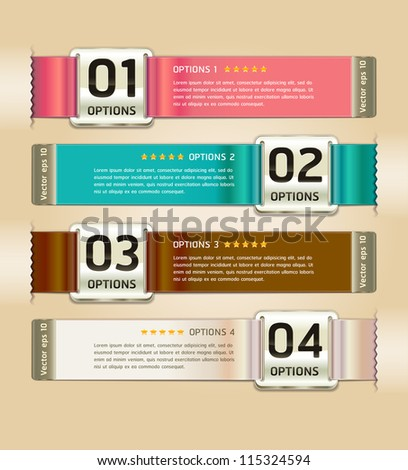Retro Color Medals with Ribbon Style Number Options Banner & Card. Vector illustration