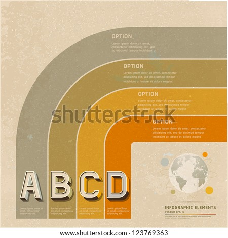 Retro color options banner on old paper background. Vector illustration. can be used for workflow layout, diagram, web design, infographics, number banner.