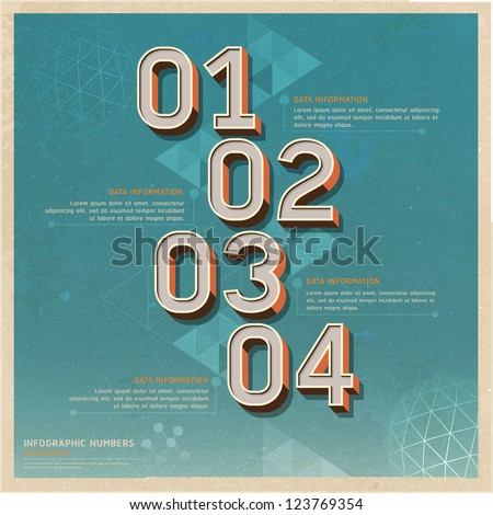 Retro color options number banner on old paper background. Vector illustration. can be used for workflow layout, diagram, web design, infographics.